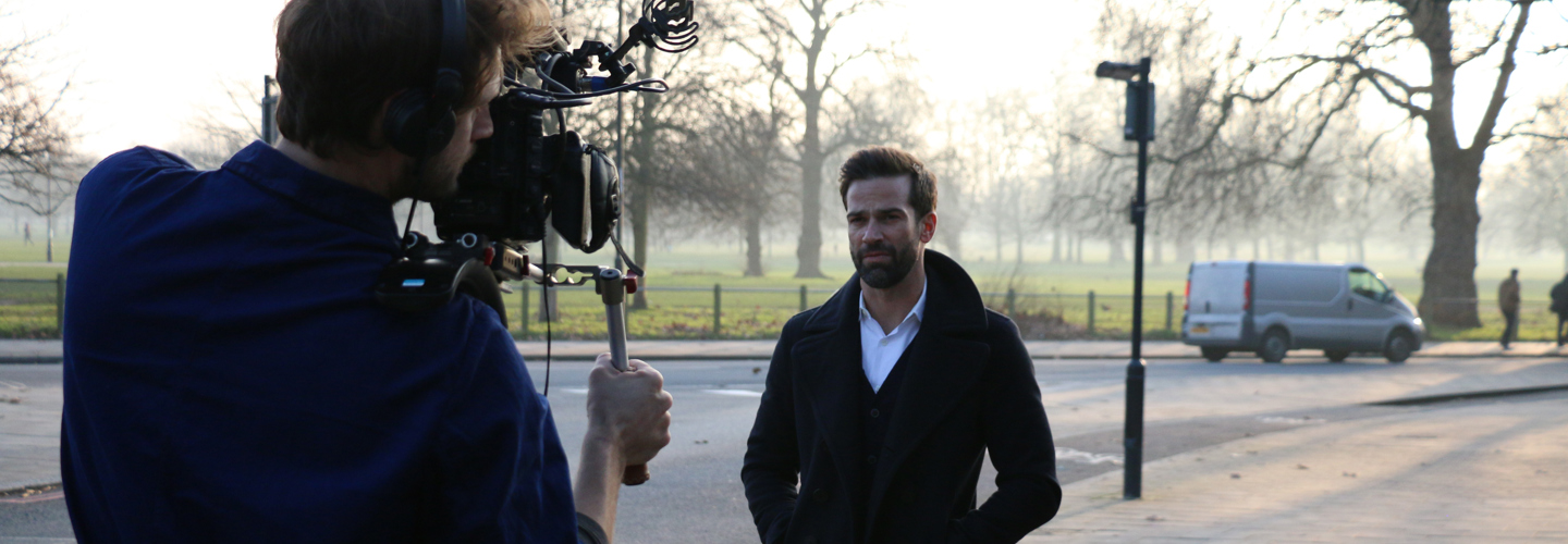 Gethin Jones filming at Royal Trinity Hospice